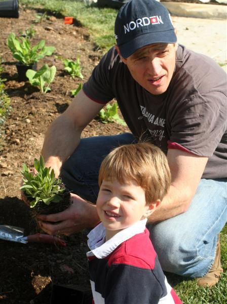 Father and son set to plant!